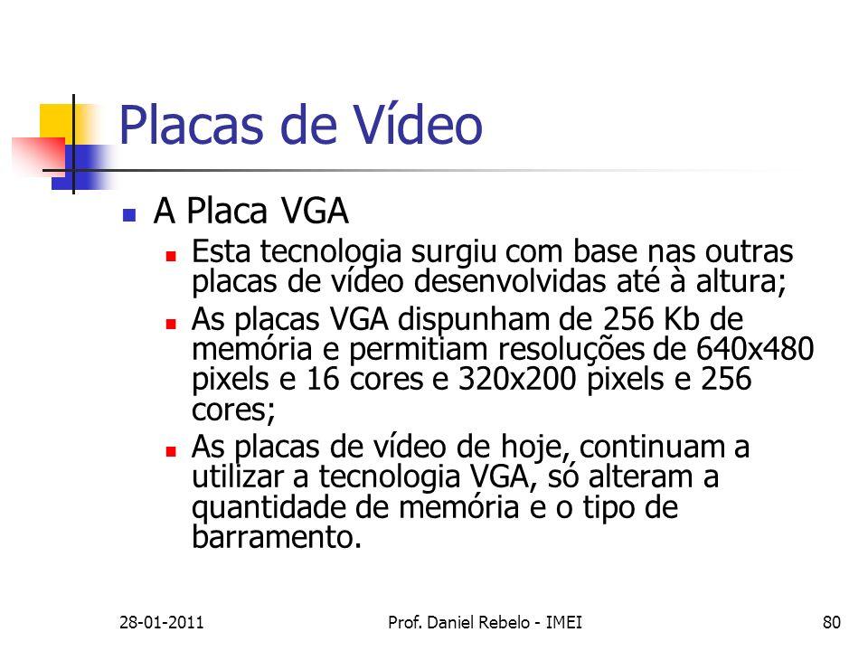 Placas de Vídeo A Placa VGA Esta tecnologia surgiu com base nas outras placas de vídeo desenvolvidas até à altura; As placas VGA dispunham de 256 Kb d