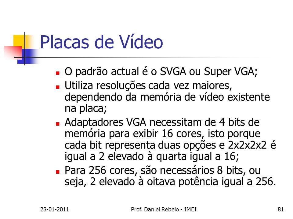 Placas de Vídeo O padrão actual é o SVGA ou Super VGA; Utiliza resoluções cada vez maiores, dependendo da memória de vídeo existente na placa; Adaptad