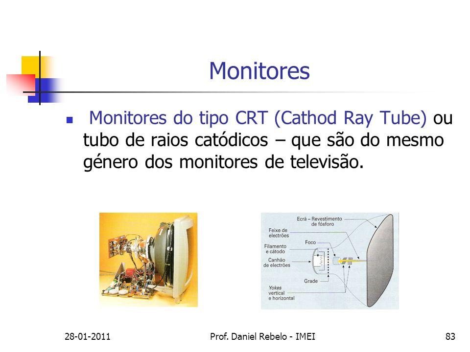 Monitores Monitores do tipo CRT (Cathod Ray Tube) ou tubo de raios catódicos – que são do mesmo género dos monitores de televisão. 28-01-2011Prof. Dan