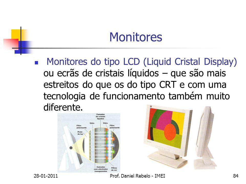 Monitores Monitores do tipo LCD (Liquid Cristal Display) ou ecrãs de cristais líquidos – que são mais estreitos do que os do tipo CRT e com uma tecnol