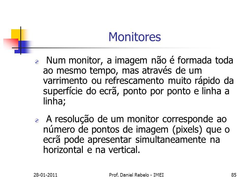 Monitores Num monitor, a imagem não é formada toda ao mesmo tempo, mas através de um varrimento ou refrescamento muito rápido da superfície do ecrã, p