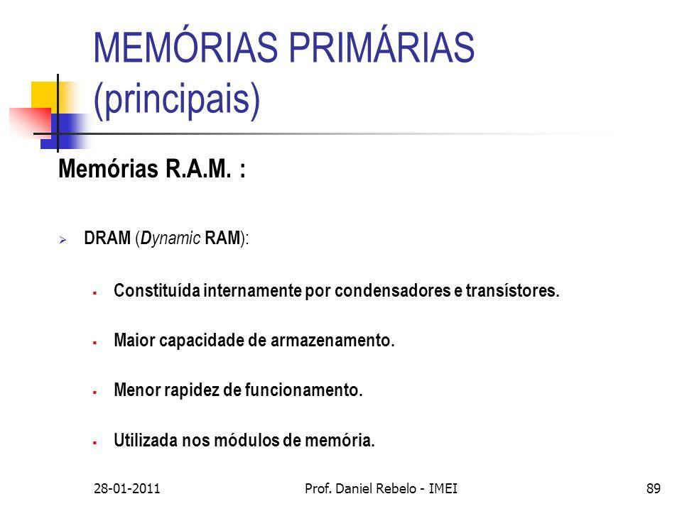 MEMÓRIAS PRIMÁRIAS (principais) Memórias R.A.M. : DRAM ( D ynamic RAM ): Constituída internamente por condensadores e transístores. Maior capacidade d