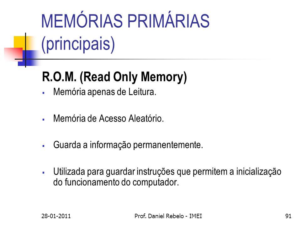 MEMÓRIAS PRIMÁRIAS (principais) R.O.M. (Read Only Memory) Memória apenas de Leitura. Memória de Acesso Aleatório. Guarda a informação permanentemente.