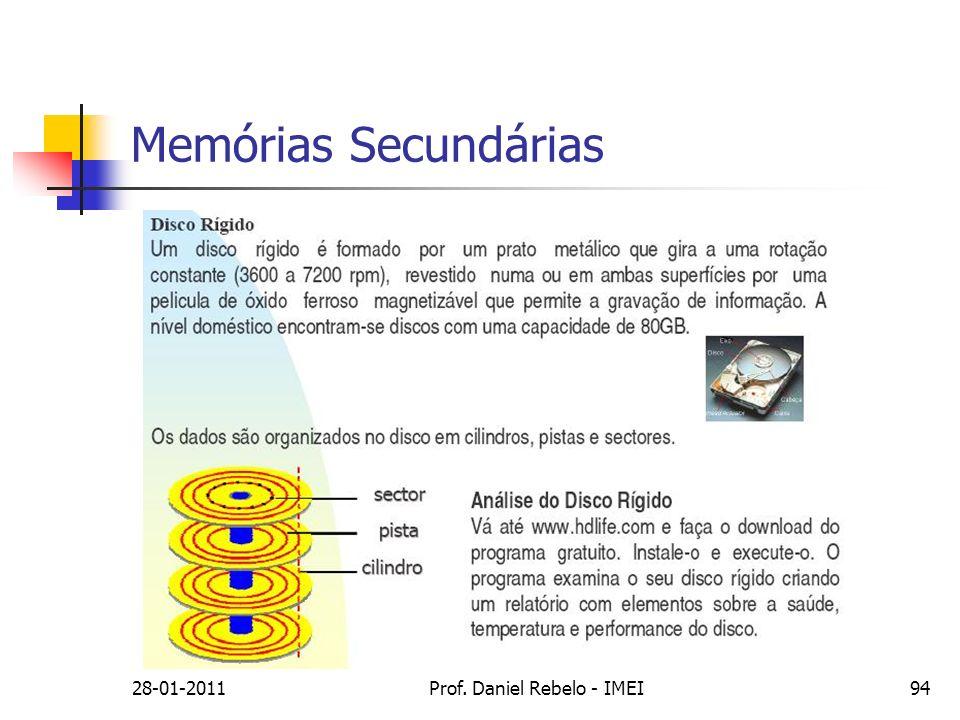 Memórias Secundárias 28-01-201194Prof. Daniel Rebelo - IMEI