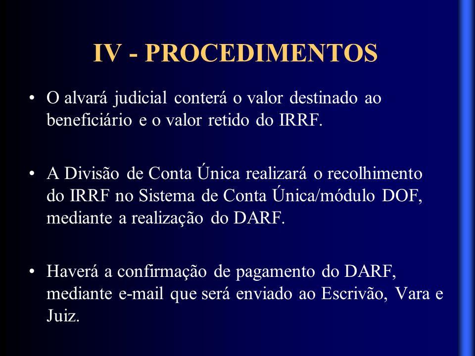 IV - PROCEDIMENTOS O alvará judicial conterá o valor destinado ao beneficiário e o valor retido do IRRF. A Divisão de Conta Única realizará o recolhim