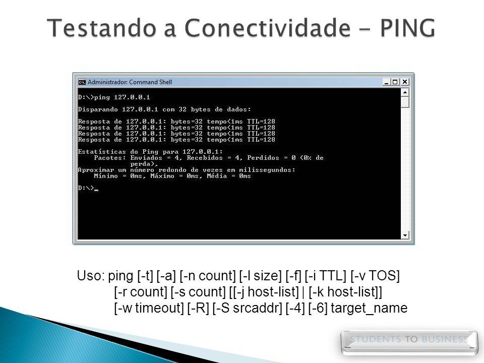Uso: ping [-t] [-a] [-n count] [-l size] [-f] [-i TTL] [-v TOS] [-r count] [-s count] [[-j host-list] | [-k host-list]] [-w timeout] [-R] [-S srcaddr]