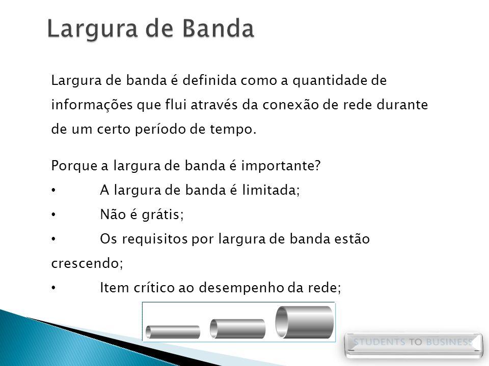 Largura de banda é definida como a quantidade de informações que flui através da conexão de rede durante de um certo período de tempo. Porque a largur