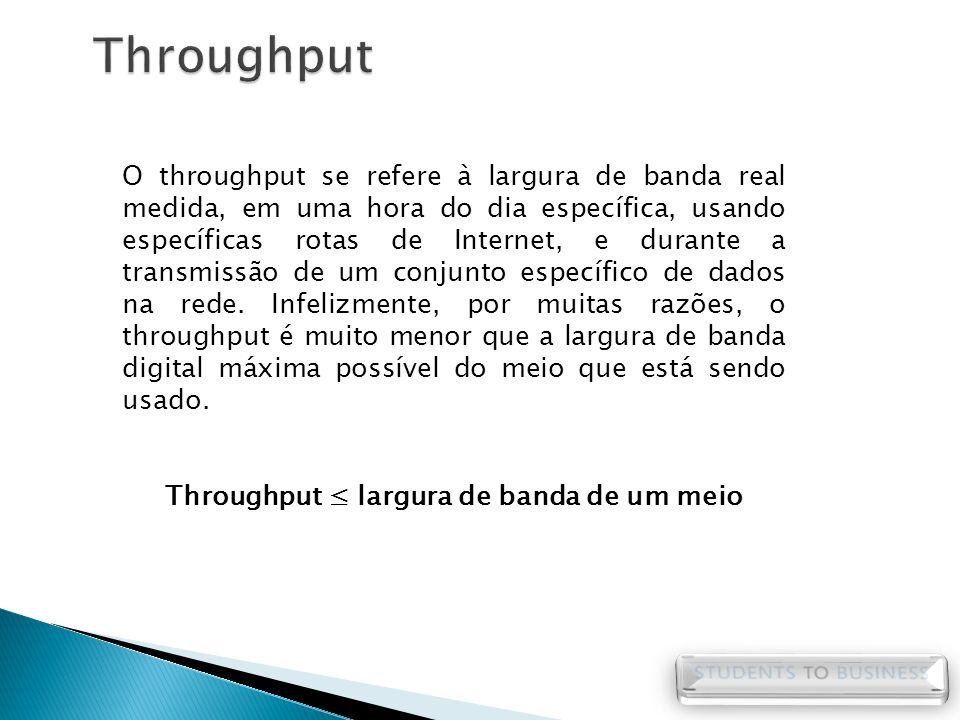 O throughput se refere à largura de banda real medida, em uma hora do dia específica, usando específicas rotas de Internet, e durante a transmissão de