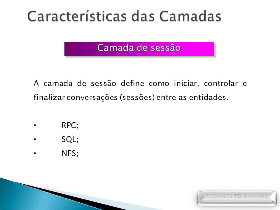 Camada de sessão A camada de sessão define como iniciar, controlar e finalizar conversações (sessões) entre as entidades. RPC; SQL; NFS;