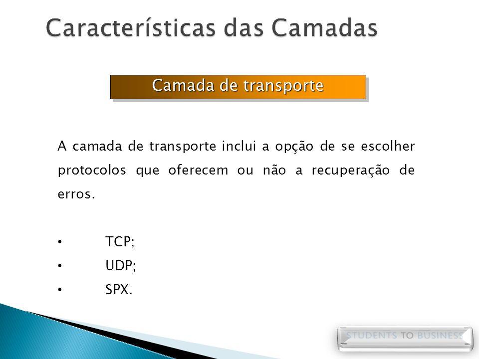 Camada de transporte A camada de transporte inclui a opção de se escolher protocolos que oferecem ou não a recuperação de erros. TCP; UDP; SPX.