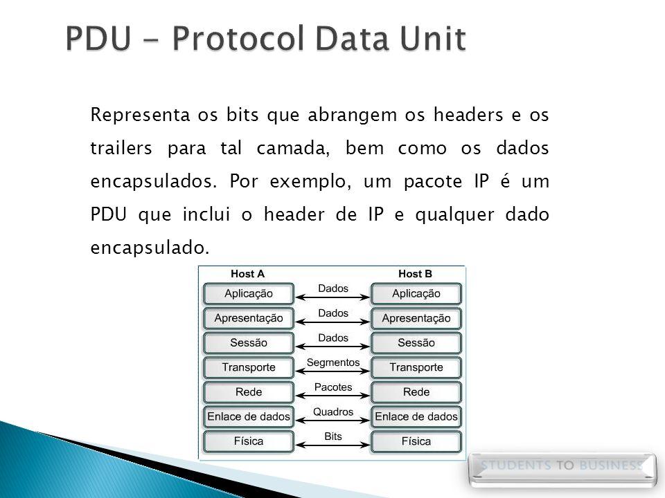 Representa os bits que abrangem os headers e os trailers para tal camada, bem como os dados encapsulados. Por exemplo, um pacote IP é um PDU que inclu