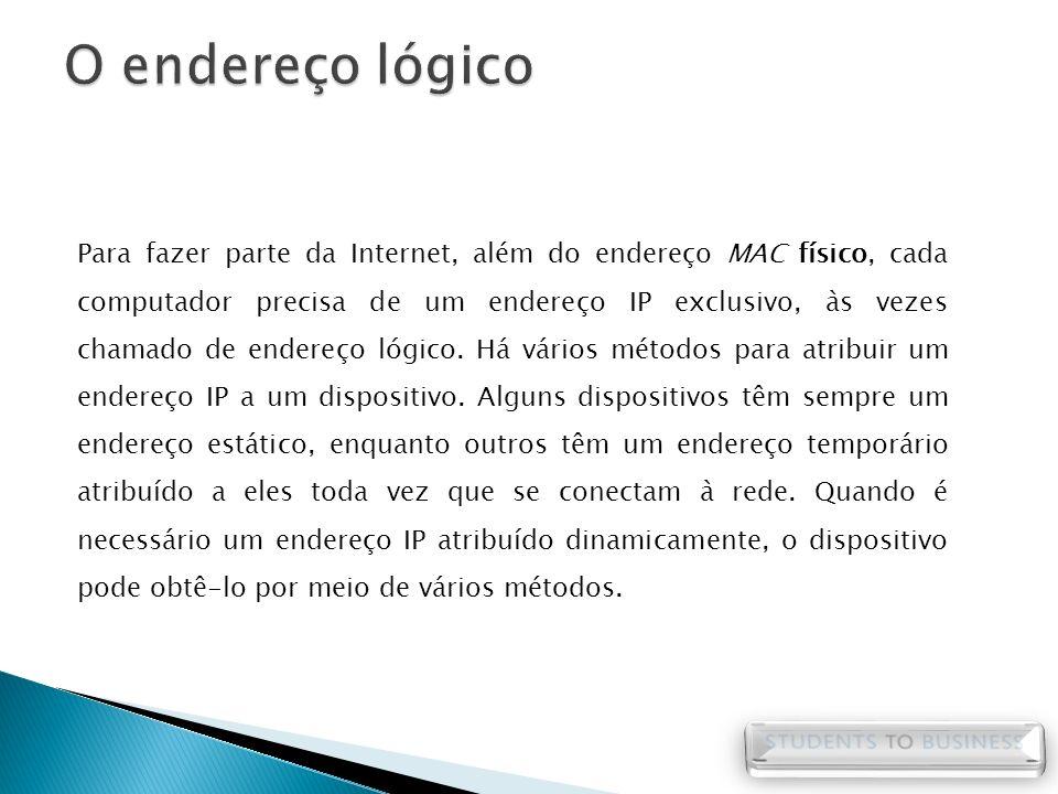 Para fazer parte da Internet, além do endereço MAC físico, cada computador precisa de um endereço IP exclusivo, às vezes chamado de endereço lógico. H