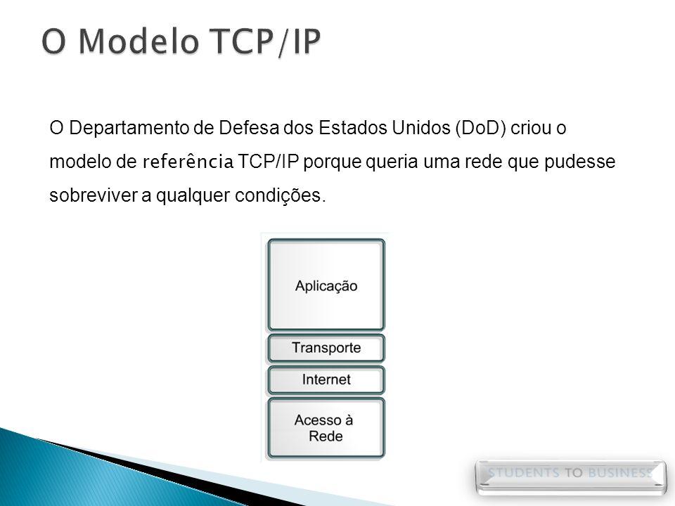O Departamento de Defesa dos Estados Unidos (DoD) criou o modelo de referência TCP/IP porque queria uma rede que pudesse sobreviver a qualquer condiçõ