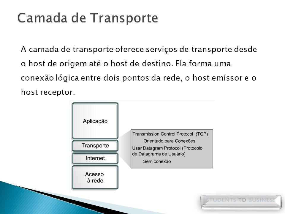 A camada de transporte oferece serviços de transporte desde o host de origem até o host de destino. Ela forma uma conexão lógica entre dois pontos da