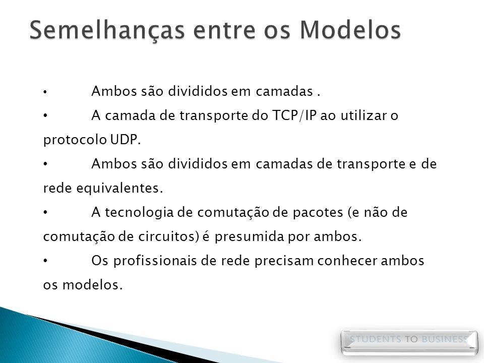 Ambos são divididos em camadas. A camada de transporte do TCP/IP ao utilizar o protocolo UDP. Ambos são divididos em camadas de transporte e de rede e