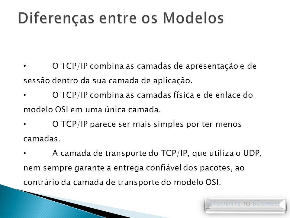 O TCP/IP combina as camadas de apresentação e de sessão dentro da sua camada de aplicação. O TCP/IP combina as camadas física e de enlace do modelo OS