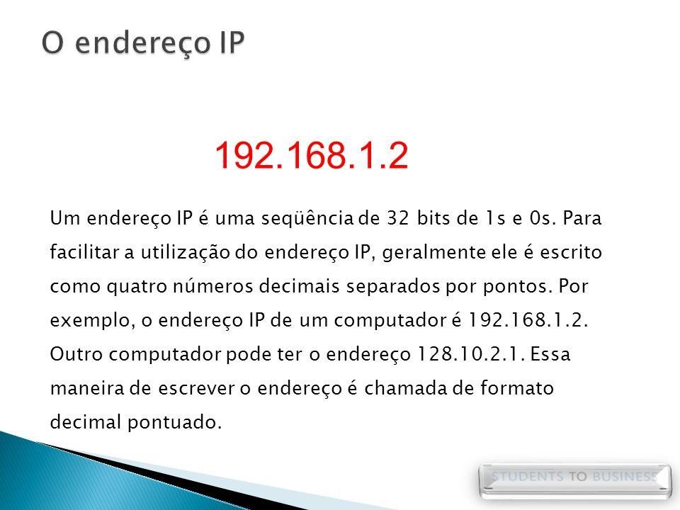 Um endereço IP é uma seqüência de 32 bits de 1s e 0s. Para facilitar a utilização do endereço IP, geralmente ele é escrito como quatro números decimai