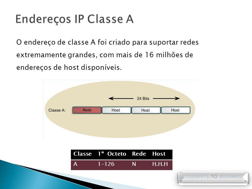 O endereço de classe A foi criado para suportar redes extremamente grandes, com mais de 16 milhões de endereços de host disponíveis. Classe1º OctetoRe
