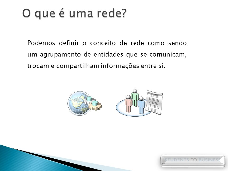 Redes de computadores seria o agrupamento de ativos (computadores, comutadores, roteadores, entre outros) que utilizam regras de comunicação (protocolos) para o compartilhamento de informações e recursos entre si.