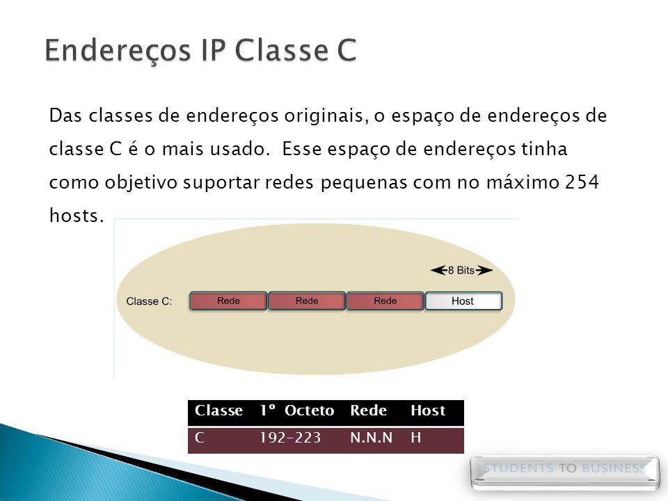 Das classes de endereços originais, o espaço de endereços de classe C é o mais usado. Esse espaço de endereços tinha como objetivo suportar redes pequ