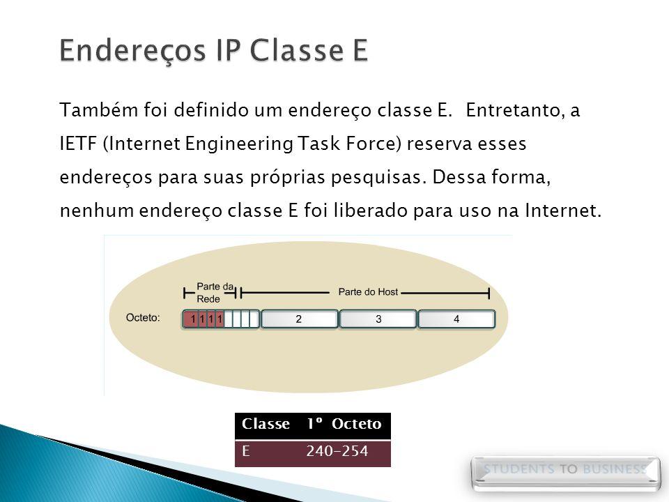 Também foi definido um endereço classe E. Entretanto, a IETF (Internet Engineering Task Force) reserva esses endereços para suas próprias pesquisas. D