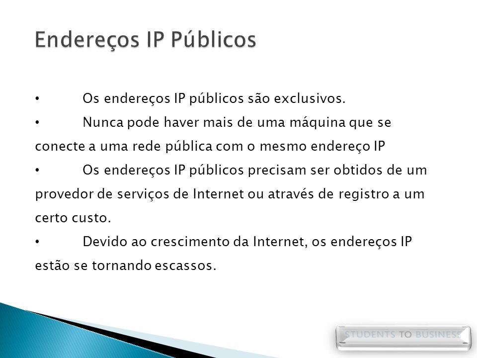 Os endereços IP públicos são exclusivos. Nunca pode haver mais de uma máquina que se conecte a uma rede pública com o mesmo endereço IP Os endereços I