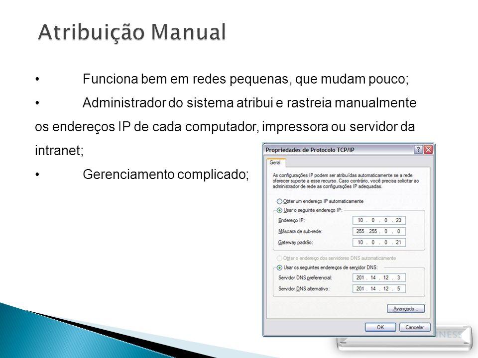 Funciona bem em redes pequenas, que mudam pouco; Administrador do sistema atribui e rastreia manualmente os endereços IP de cada computador, impressor