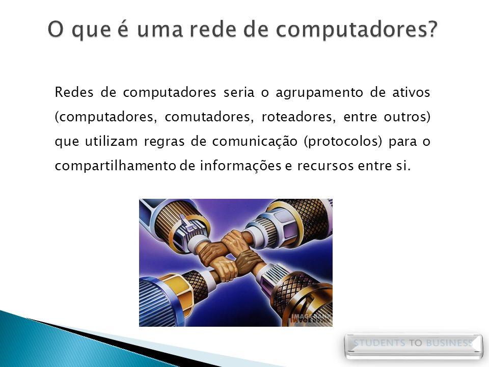 Redes de computadores seria o agrupamento de ativos (computadores, comutadores, roteadores, entre outros) que utilizam regras de comunicação (protocol