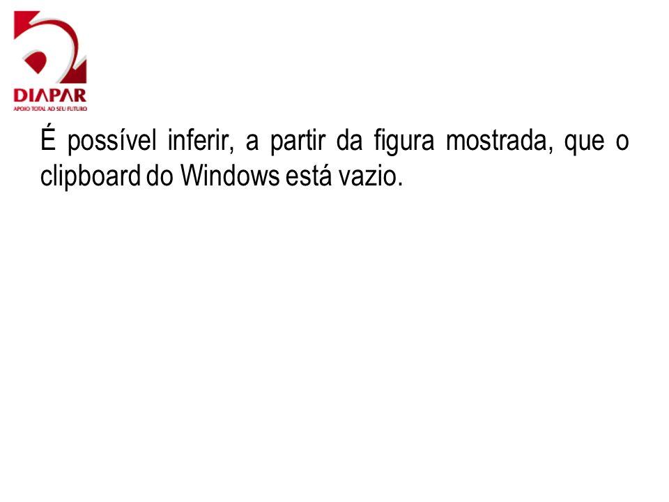 É possível inferir, a partir da figura mostrada, que o clipboard do Windows está vazio.