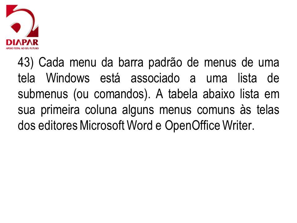 43) Cada menu da barra padrão de menus de uma tela Windows está associado a uma lista de submenus (ou comandos). A tabela abaixo lista em sua primeira