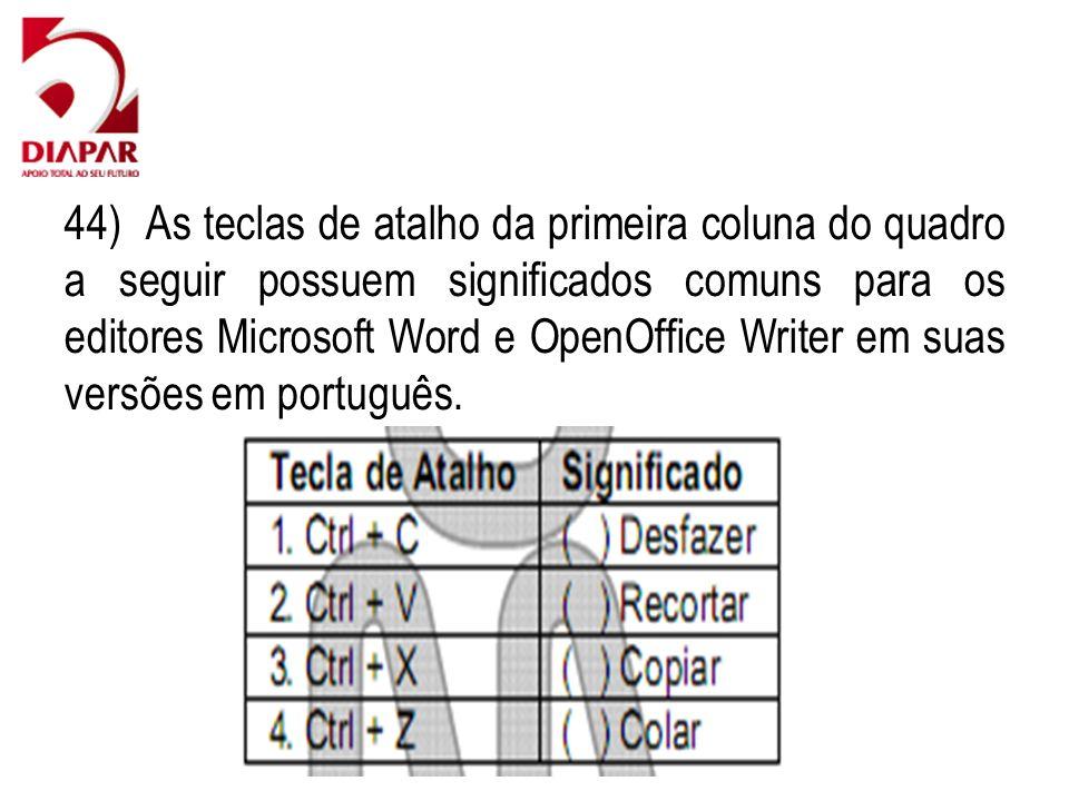 44) As teclas de atalho da primeira coluna do quadro a seguir possuem significados comuns para os editores Microsoft Word e OpenOffice Writer em suas versões em português.