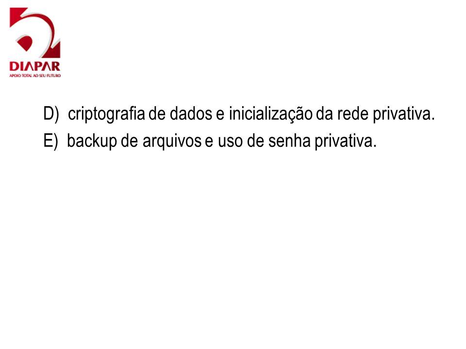 D) criptografia de dados e inicialização da rede privativa. E) backup de arquivos e uso de senha privativa.