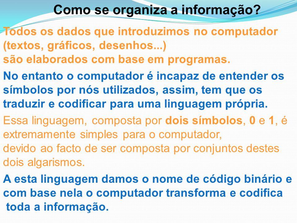 Como se organiza a informação? Todos os dados que introduzimos no computador (textos, gráficos, desenhos...) são elaborados com base em programas. No
