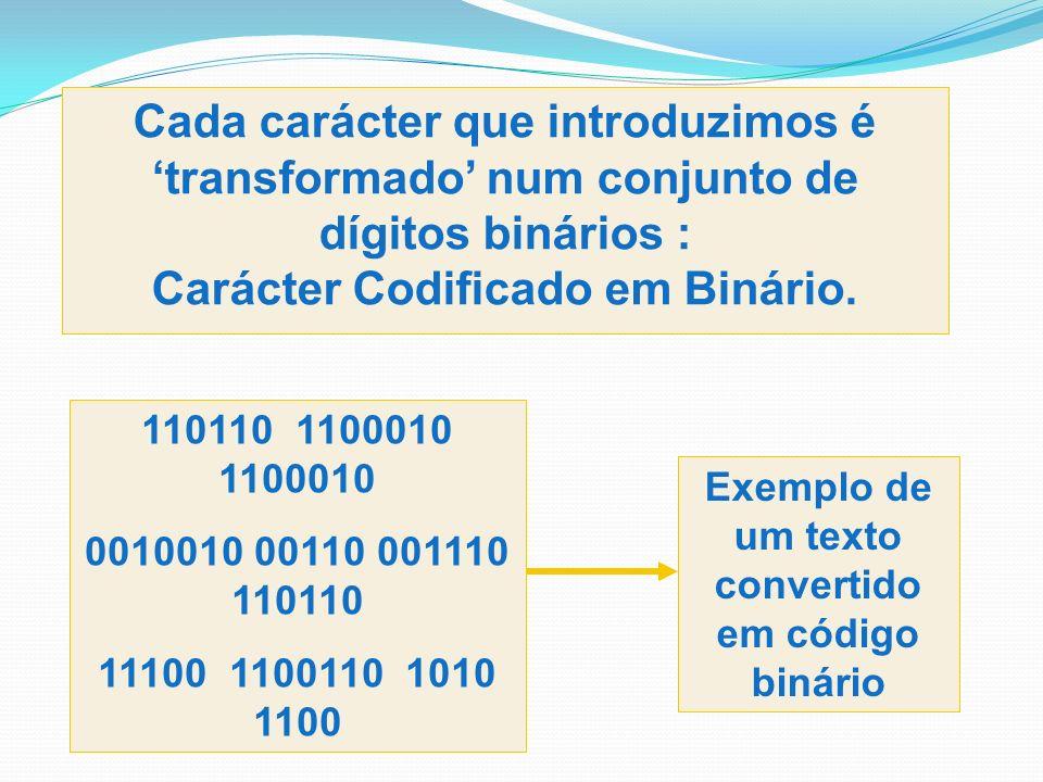 Cada carácter que introduzimos é transformado num conjunto de dígitos binários : Carácter Codificado em Binário. Exemplo de um texto convertido em cód