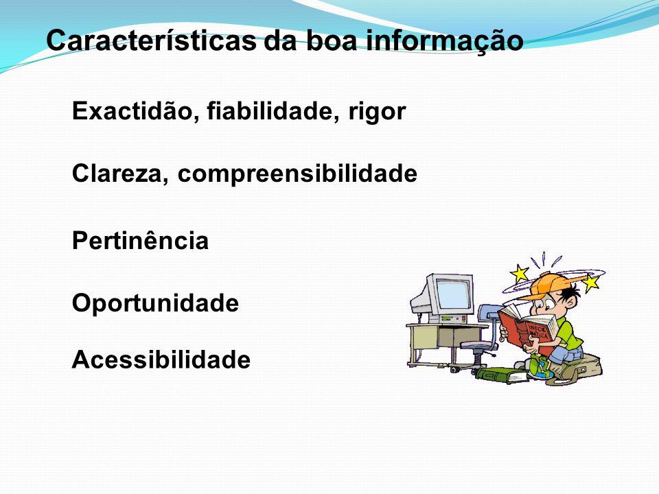 Características da boa informação Acessibilidade Exactidão, fiabilidade, rigor Clareza, compreensibilidade Pertinência Oportunidade