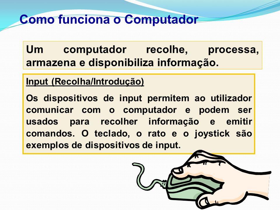 Como funciona o Computador Um computador recolhe, processa, armazena e disponibiliza informação. Input (Recolha/Introdução) Os dispositivos de input p