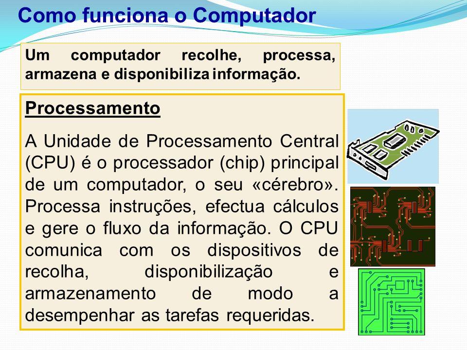 Um computador recolhe, processa, armazena e disponibiliza informação. Processamento A Unidade de Processamento Central (CPU) é o processador (chip) pr