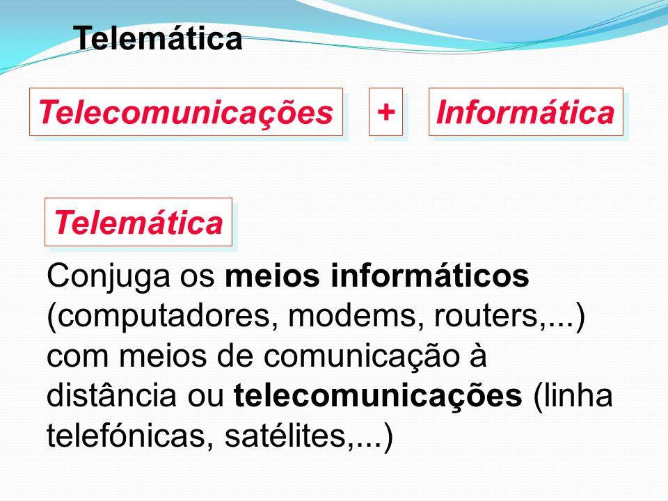 Conjuga os meios informáticos (computadores, modems, routers,...) com meios de comunicação à distância ou telecomunicações (linha telefónicas, satélit