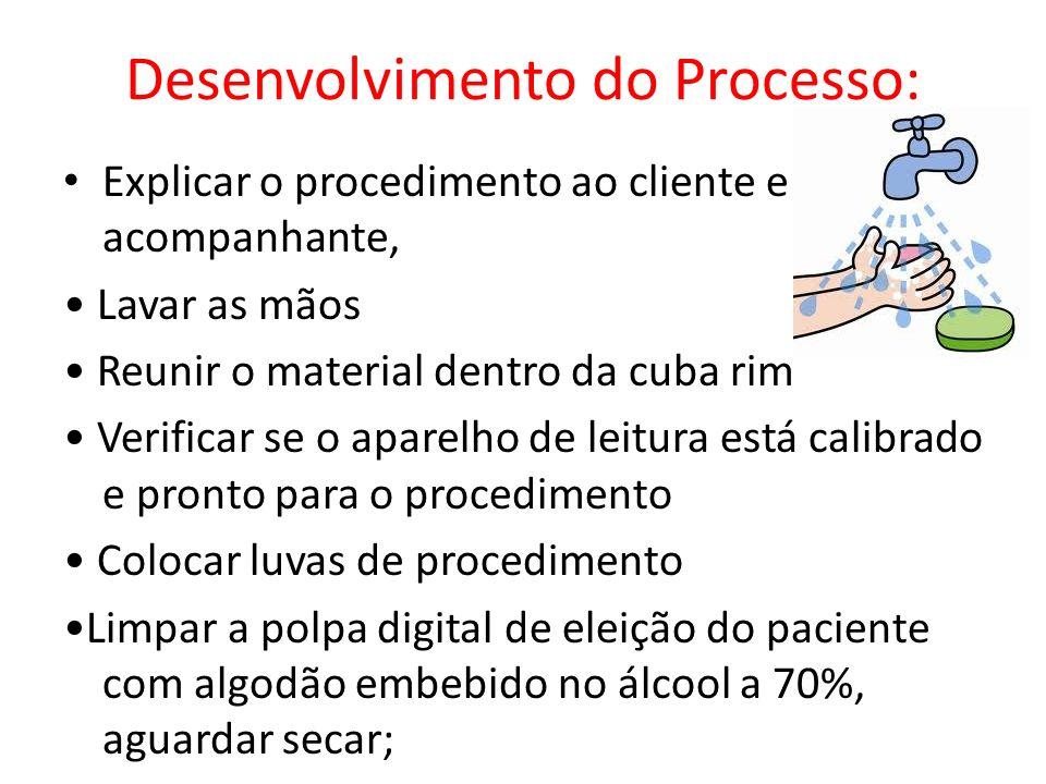 Desenvolvimento do Processo: Explicar o procedimento ao cliente e acompanhante, Lavar as mãos Reunir o material dentro da cuba rim Verificar se o apar