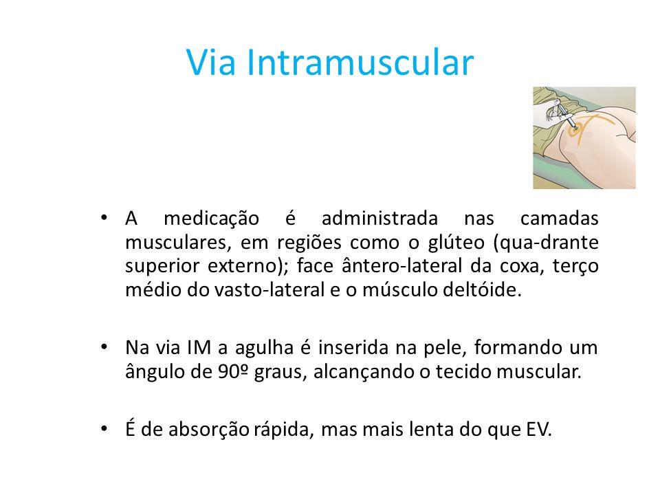 Via Intramuscular A medicação é administrada nas camadas musculares, em regiões como o glúteo (qua-drante superior externo); face ântero-lateral da co