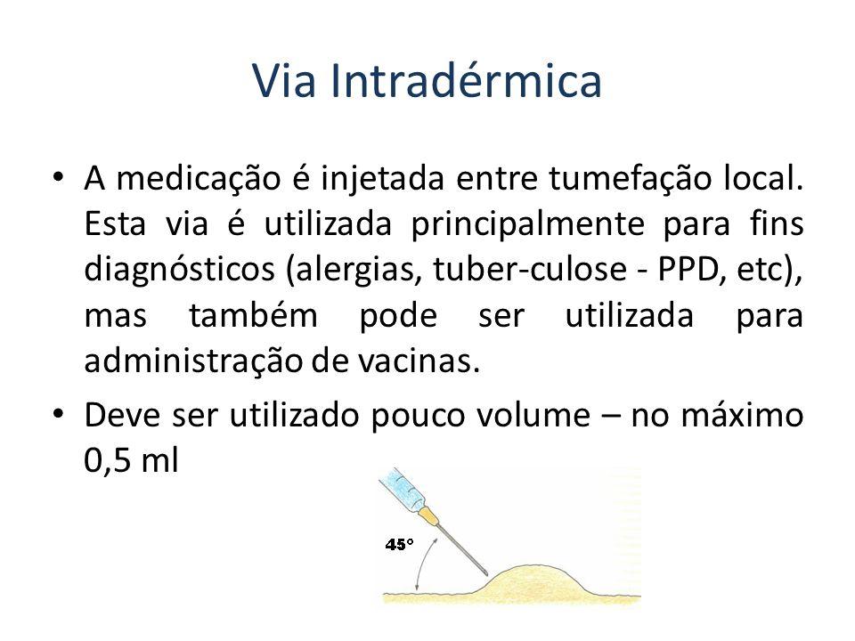 Via Endovenosa por venóclise introdução de soro Tem por finalidade a infusão de grande volume de líquidos, além de proporcionar uma via de administração de medicamentos.