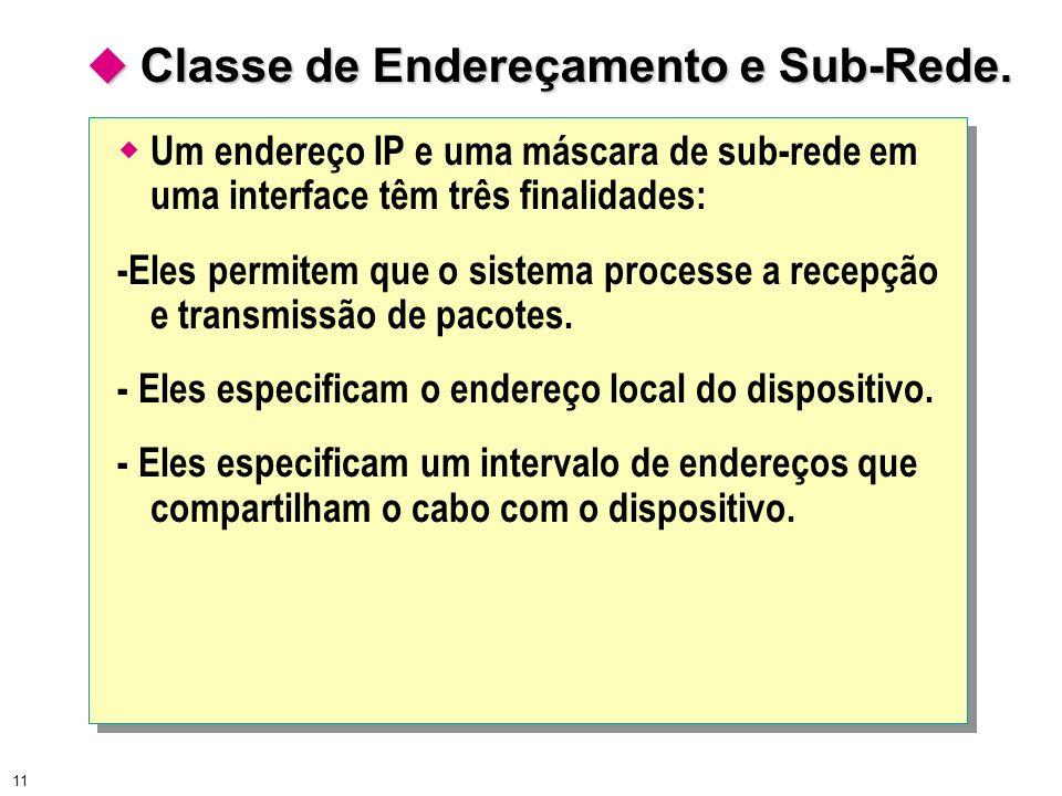 11 Classe de Endereçamento e Sub-Rede. Classe de Endereçamento e Sub-Rede. Um endereço IP e uma máscara de sub-rede em uma interface têm três finalida