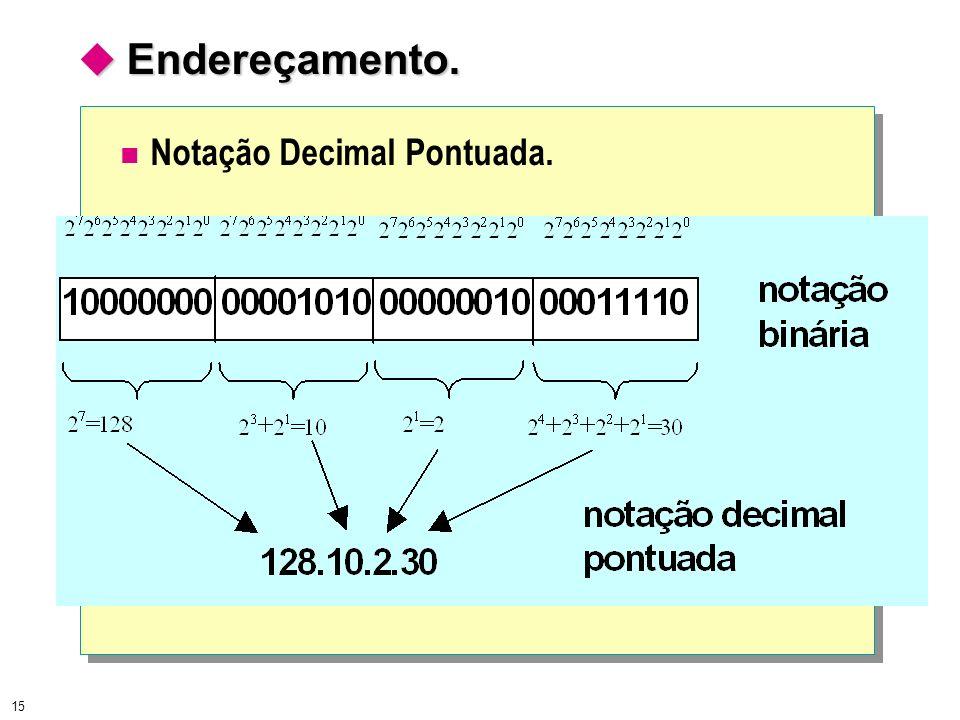 15 Endereçamento. Endereçamento. Notação Decimal Pontuada.