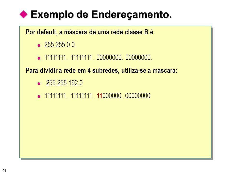 21 Exemplo de Endereçamento. Exemplo de Endereçamento. Por default, a máscara de uma rede classe B é 255.255.0.0. 11111111. 11111111. 00000000. 000000