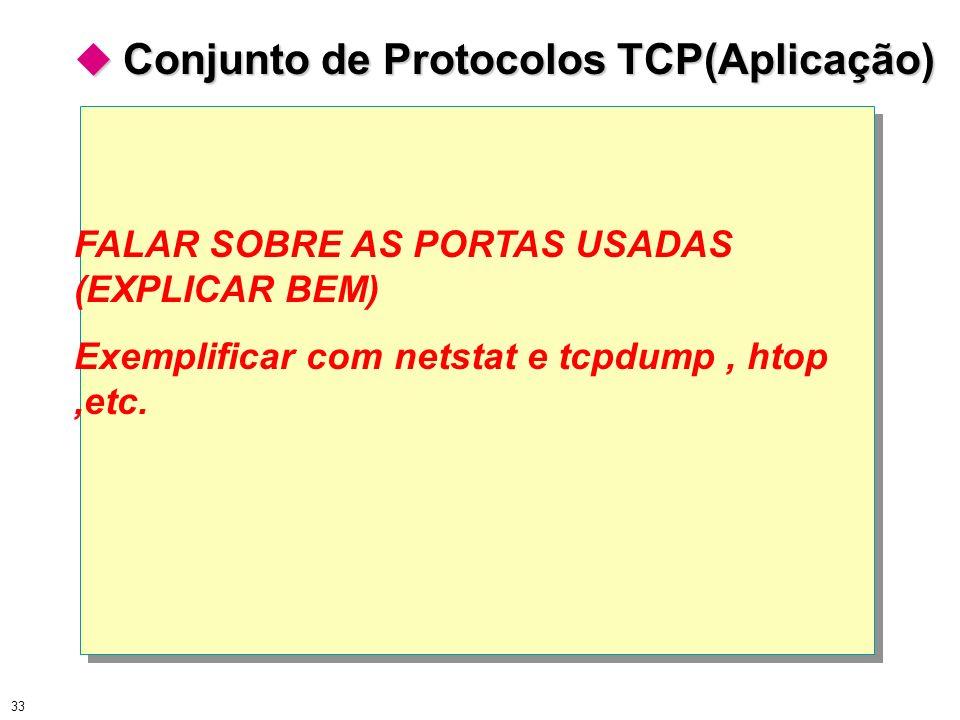 33 Conjunto de Protocolos TCP(Aplicação) Conjunto de Protocolos TCP(Aplicação) FALAR SOBRE AS PORTAS USADAS (EXPLICAR BEM) Exemplificar com netstat e