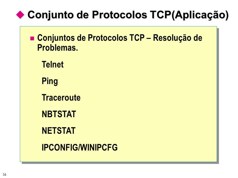 34 Conjuntos de Protocolos TCP – Resolução de Problemas. Telnet Ping Traceroute NBTSTAT NETSTAT IPCONFIG/WINIPCFG Conjunto de Protocolos TCP(Aplicação