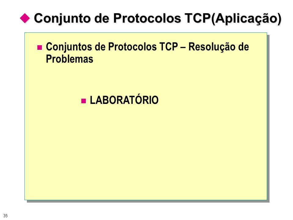 35 Conjuntos de Protocolos TCP – Resolução de Problemas LABORATÓRIO Conjunto de Protocolos TCP(Aplicação) Conjunto de Protocolos TCP(Aplicação)