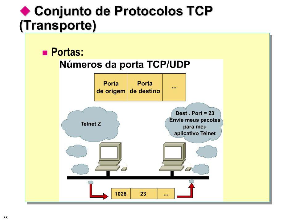 38 Conjunto de Protocolos TCP (Transporte) Conjunto de Protocolos TCP (Transporte) Portas: