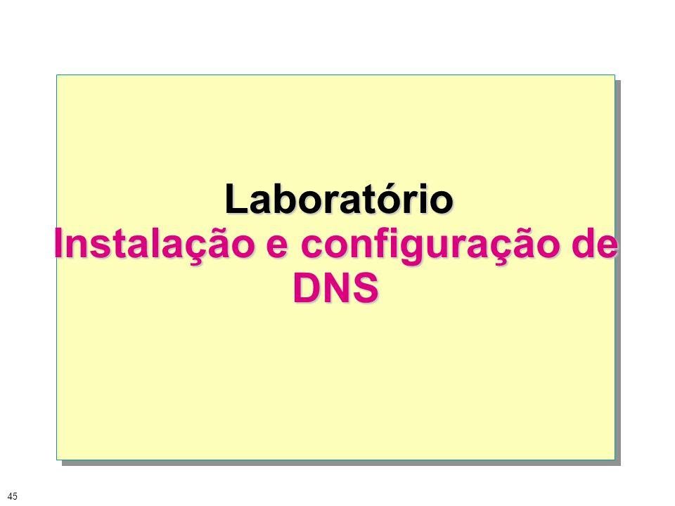 45 Laboratório Laboratório Instalação e configuração de DNS