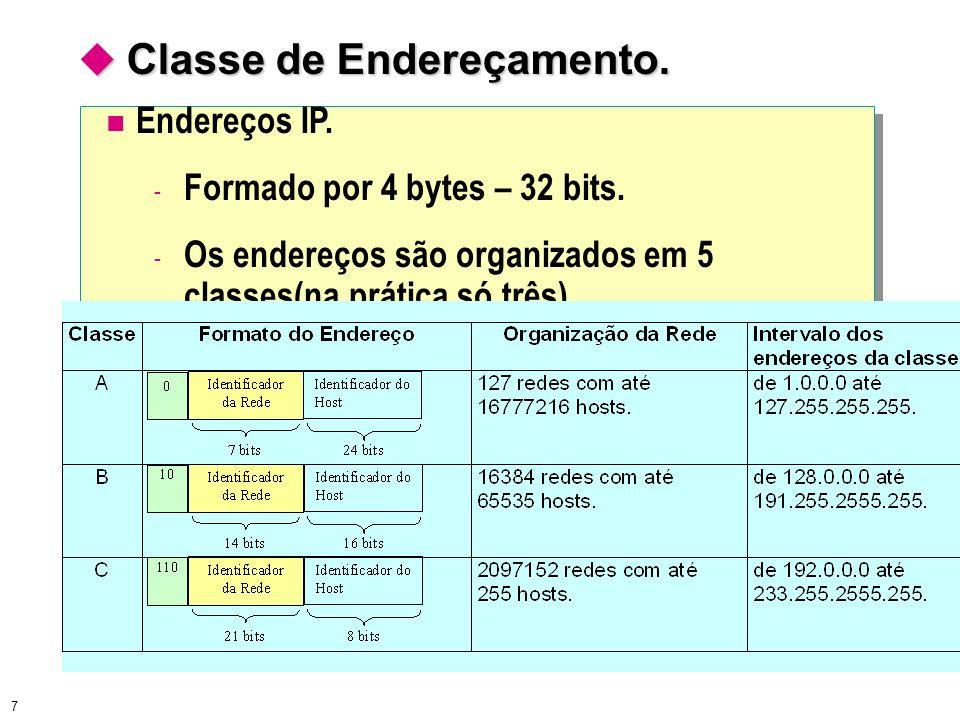 7 Classe de Endereçamento. Classe de Endereçamento. Endereços IP. - Formado por 4 bytes – 32 bits. - Os endereços são organizados em 5 classes(na prát